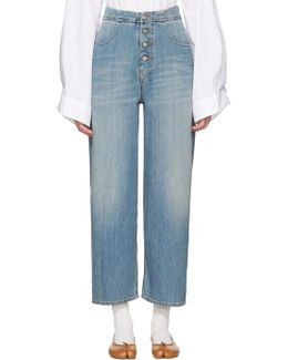 Blue Carryover Wide-leg Crop Jeans