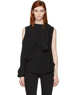 Black Fluid Single-sleeve Blouse