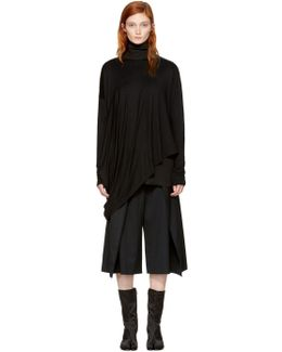 Black Long Sleeve Draped T-shirt