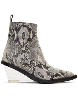 Grey Faux-python Wedge Boots