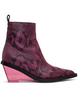 Pink Faux-python Wedge Boots