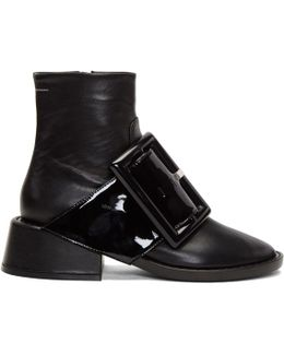 Black Oversized Buckle Boots