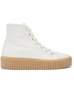 White Sheepskin High-top Sneakers