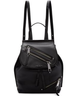 Black Leather Zip Backpack