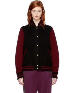 Burgundy & Black Knit Varsity Bomber Jacket