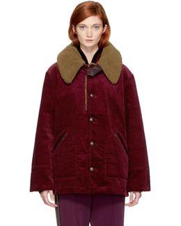 Burgundy Oversized Corduroy Coat