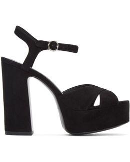 Black Suede Lust Platform Sandals