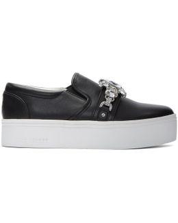 Black Embellished Platform Sneakers