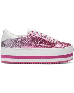 Pink Grand Glitter Platform Sneakers
