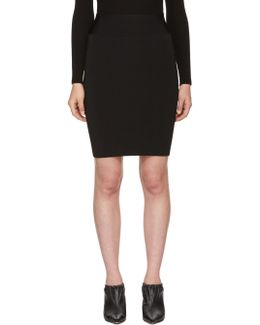 Black Full Needle Rib Pencil Skirt