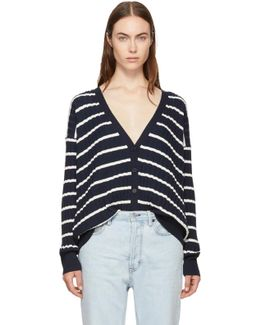 Navy & White Relaxed Stripe Cardigan