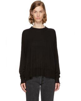 Black Gauze Knit Oversized Pullover