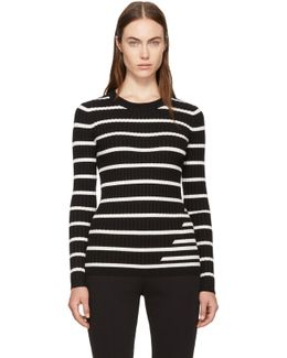 Black & Ivory Striped Fitted Rib Pullover
