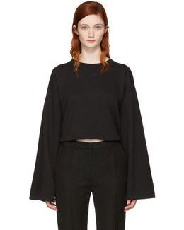 Black Cropped Tie-back Sweatshirt