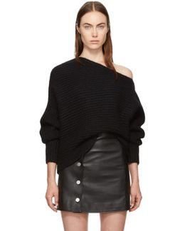 Black Mohair Asymmetric Sweater