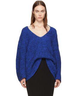 Blue Bracelet Sleeve V-neck Sweater