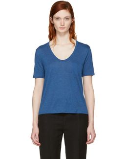 Blue Classic Cropped Pocket T-shirt