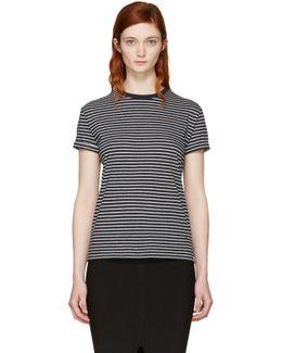 Navy & Grey Striped Crewneck T-shirt