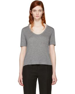 Grey Classic Cropped Pocket T-shirt