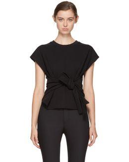 Black Short Sleeve Wrap Front Sweatshirt