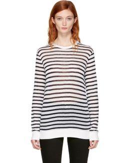 Navy & Ivory Long Sleeve Striped Crewneck T-shirt