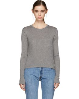 Grey Long Sleeve Classic Cropped T-shirt