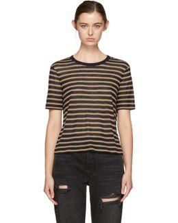 Navy & Tan Striped T-shirt