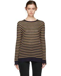 Navy & Tan Long Sleeve Striped T-shirt