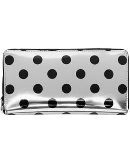 Silver & Black Polka Dot Continental Zip Wallet