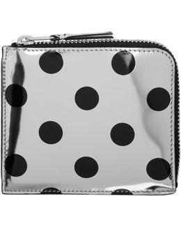 Silver & Black Polka Dot Small Zip Wallet
