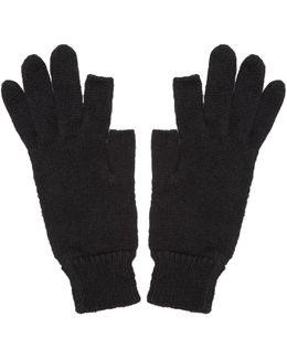 Black Knit Alpaca Gloves