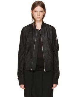 Black Leather Flight Bomber Jacket