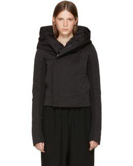 Black Down Hooded Biker Jacket