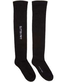Black Glitter Over-the-knee Socks