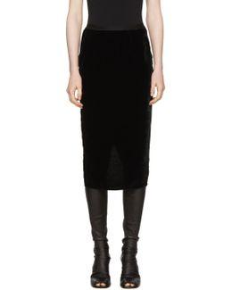 Black Velvet Pillar Skirt