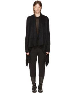 Black Merino Medium Wrap Cardigan