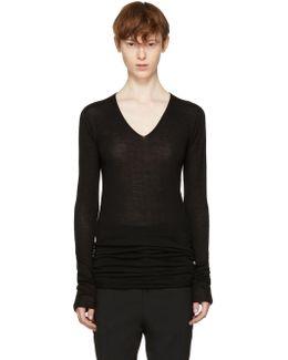 Black Merino V-neck Sweater