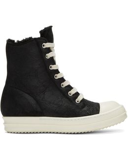 Black Shearling High-top Sneakers