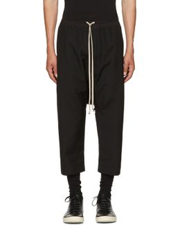 Black Wool Cropped Drawstring Trousers
