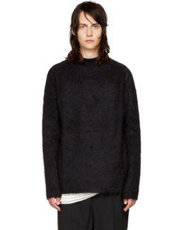 Black Oversized Jacquard Mohair Sweater
