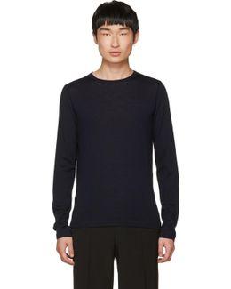 Navy Wool Crewneck Sweater