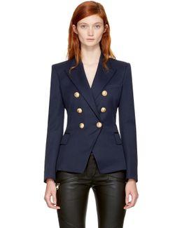 Navy Wool Classic Six-button Blazer