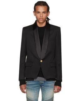 Black Single-button Shawl Blazer