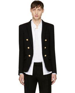 Black Jersey Six-button Blazer