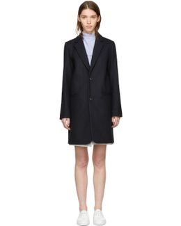 Navy Wool Carver Coat