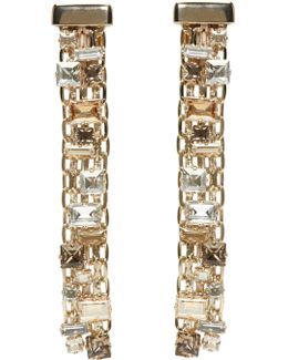 Gold & Crystal Skinny Clip-on Earrings