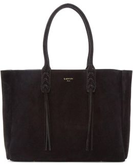 Black Suede Small Shopper Tote