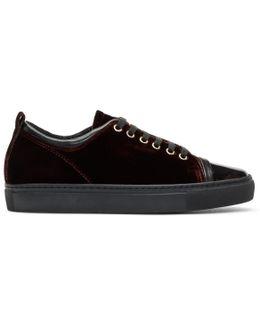 Burgundy Velvet Sneakers
