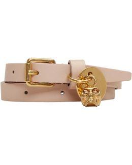 Pink Double Wrap Skull Bracelet