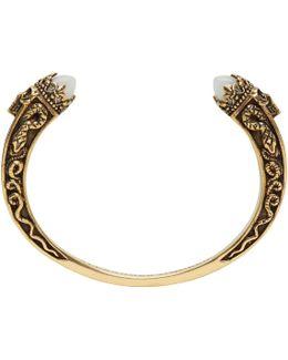 Gold Twin Skull & Snake Bracelet